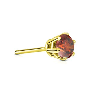Auriya 14k Gold 1/3ct TDW 6-Prong Push-Back Round-Cut Brown Diamond Single Stud Earring (Brown, SI1-SI2)