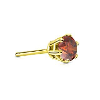 Auriya 14k Gold 1/3ct TDW 6 Prong Round Brown Diamond Single Stud Earring