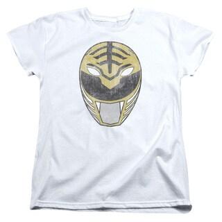 Power Rangers/White Ranger Mask Short Sleeve Women's Tee in White