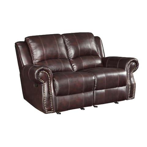 "Coaster Company Sir Rawlinson Traditional Gliding Reclining Love Seat with Nailhead Studs - 67"" x 39"" x 40"""