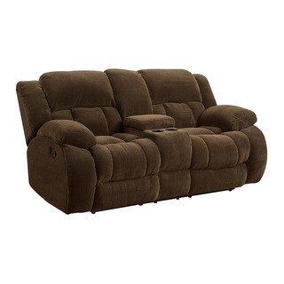 Coaster Company Brown Chenille Motion Loveseat with Console
