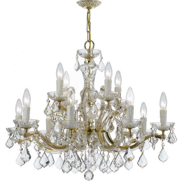 Crystorama Maria Theresa Collection 12-light Gold/Swarovski Elements Spectra Crystal Chandelier