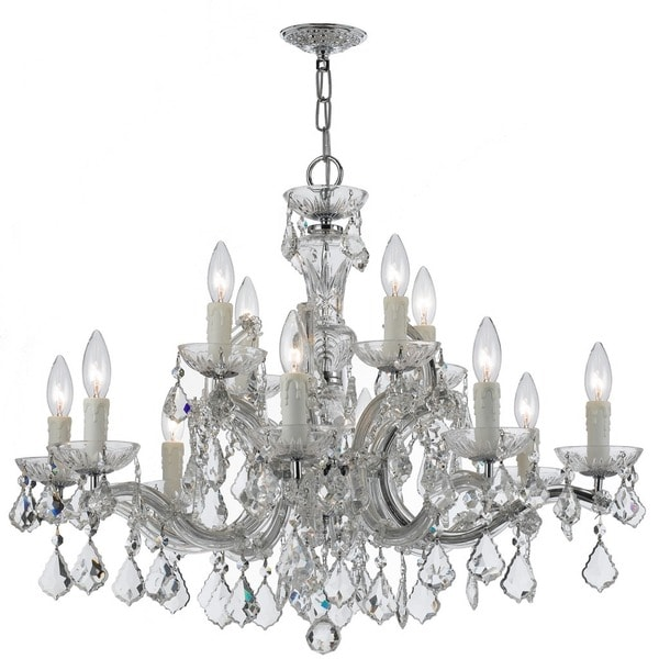 Crystorama Maria Theresa Collection 12-light Polished Chrome/Swarovski Elements Spectra Crystal Chandelier