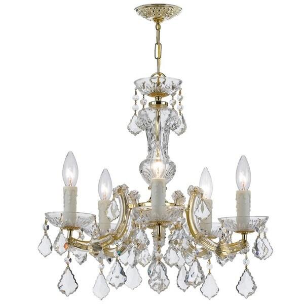 Crystorama Maria Theresa Collection 5-light Gold/Swarovski Strass Crystal Mini Chandelier