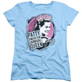 Grease/Carnival Queen Short Sleeve Women's Tee in Light Blue