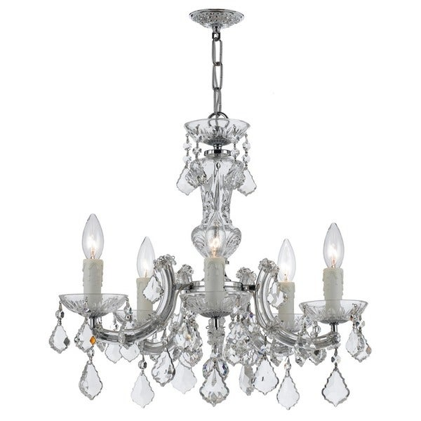 Crystorama Maria Theresa Collection 5-light Polished Chrome/Swarovski Strass Crystal Mini Chandelier - Chrome