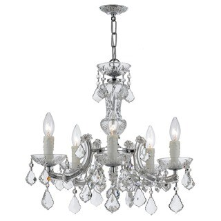 Crystorama Maria Theresa Collection 5-light Polished Chrome/Swarovski Elements Strass Crystal Mini Chandelier