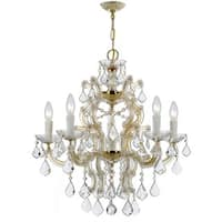 Crystorama Maria Theresa Collection 6-light Gold/Swarovski Elements Strass Crystal Chandelier