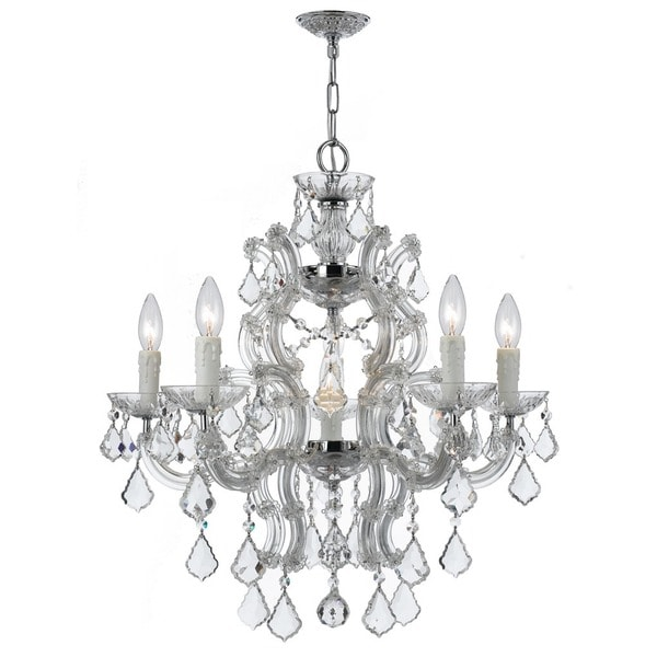 Crystorama Maria Theresa Collection 6-light Polished Chrome/Swarovski Strass Crystal Chandelier - Chrome