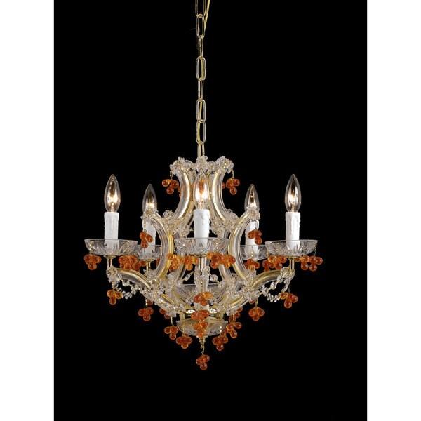 Crystorama Maria Theresa Collection 6-light Polished Brass/ Crystal Mini Chandelier
