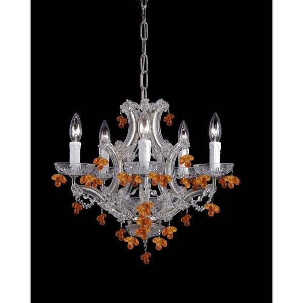 Crystorama Maria Theresa Collection 6-light Chrome/Murano Crystal Mini Chandelier