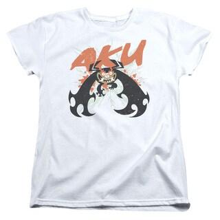 Samurai Jack/Aku Splatter Short Sleeve Women's Tee in White