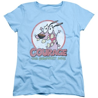 Courage The Cowardly Dog/Vintage Courage Short Sleeve Women's Tee in Light Blue