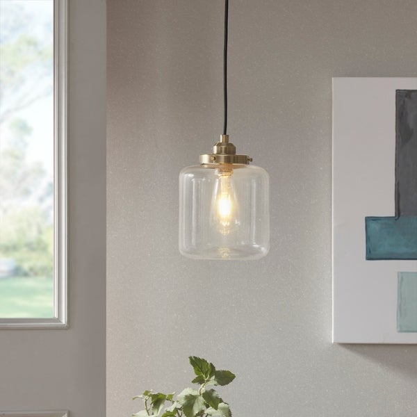 Carbon Loft Mangano Single Pendant in Antique Brass (As Is Item). Opens flyout.