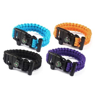 ETCBUYS Outdoor Survival Bracelet with Compass, Whistle, & Flint Fire Starter