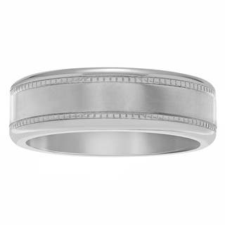 Territory Men's Titanium 7 mm Brushed Center with Milgrain Wedding Band|https://ak1.ostkcdn.com/images/products/12544379/P19346967.jpg?impolicy=medium