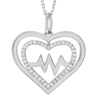 Journee Collection Sterling Silver Cubic Zirconia Double Heart Pendant