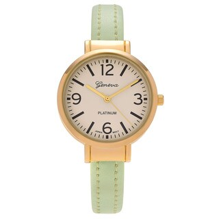 Geneva Platinum Women's Goldtone Round Case Faux Leather Cuff Watch - Multi