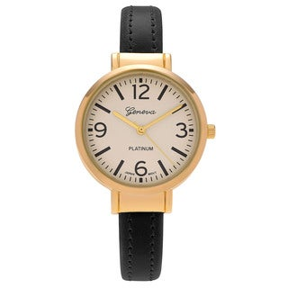 Geneva Platinum Women's Goldtone Round Case Faux Leather Cuff Watch
