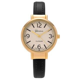 Geneva Platinum Women's Goldtone Round Case Faux Leather Cuff Watch - Multi