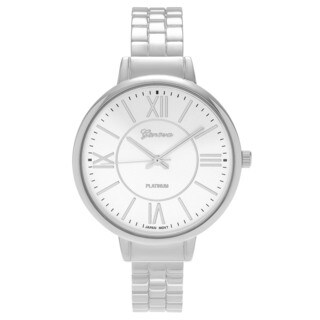 Geneva Platinum Women's Round Case Roman Numeral Cuff Fashion Watch