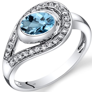 Oravo 14k White Gold 1 1/4ct TGW Swiss Blue Topaz and 1/4ct TDW Diamond Infinity Ring (I-J, SI1-SI2)
