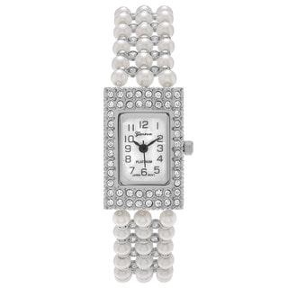 Geneva Platinum Women's Barrel Case Cubic Zirconia Faux Pearl Strand Watch