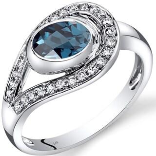 Oravo 14k White Gold 1 1/4ct TGW Blue Topaz and 1/4ct TDW Diamond Infinity Ring (I-J, SI1-SI2)
