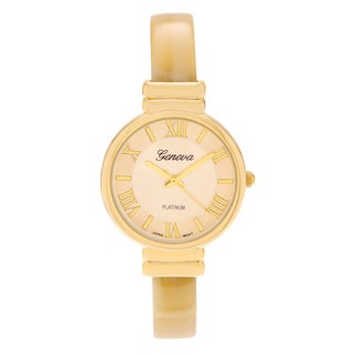 Geneva Platinum Women's Goldtone Roman Numeral Plastic Cuff Watch