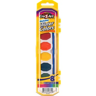 Cra-Z-Art 10651 8 Count Assorted Washable Watercolors With Brush