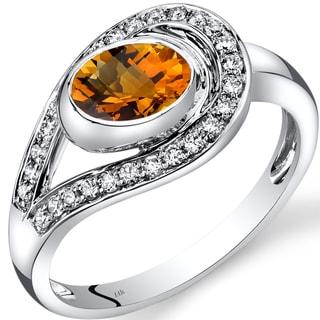 Oravo 14k White Gold 1ct TGW Citrine and 1/4ct TDW Diamond Infinity Ring (I-J, SI1-SI2)
