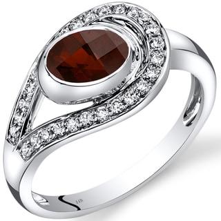 Oravo 14k White Gold 1 1/4ct TGW Garnet and 1/4ct TDW Diamond Infinity Ring (I-J, SI1-SI2)