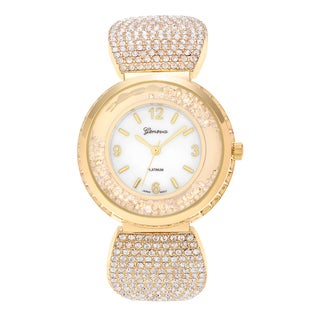 Geneva Platinum Women's Round Case Cubic Zirconia Link Bracelet Watch