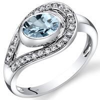 Oravo 14k White Gold 1ct TGW Aquamarine and 1/4ct TDW Diamond Infinity Ring (I-J, SI1-SI2)