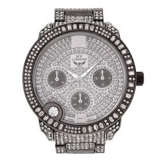 NY London Women's Large Case Cubic Zirconia Link Bracelet Watch