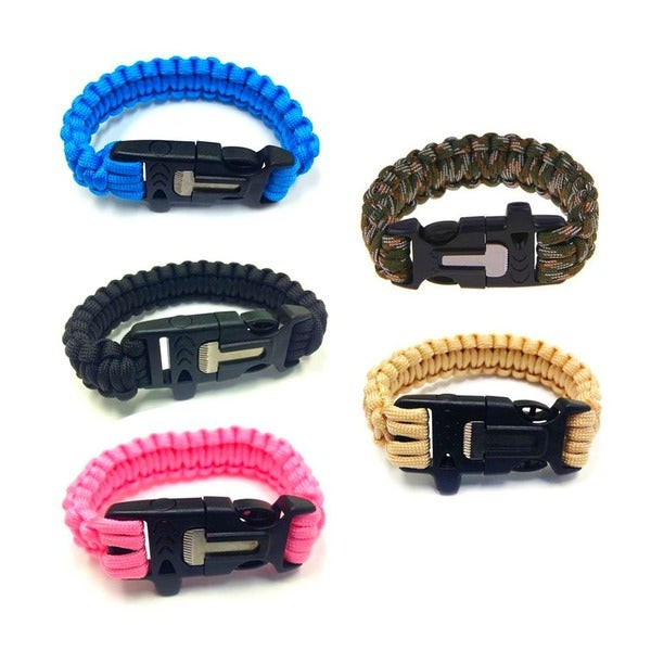 Paracord Nylon Survival Bracelet With Flint Scraper, Whistle, and Cutting Tool