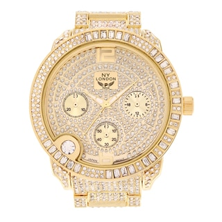 NY London Women's Large Case Cubic Zirconia Link Bracelet Watch