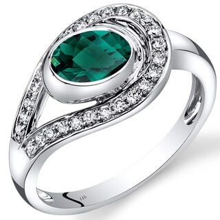 Oravo 14k White Gold 1ct TGW Created Emerald 1/4ct TDW Diamond Infinity Ring (I-J, SI1-SI2)