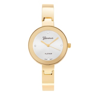 Geneva Platinum Women's Round Case Cubic Zirconia Cuff Fashion Watch