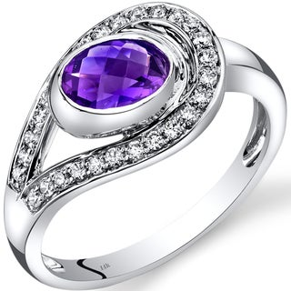 Oravo 14k White Gold 3/4ct TGW Amethyst and 1/4ct TDW Diamond Infinity Ring (I-J, SI1-SI2)