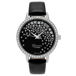 Geneva Platinum Women's Round Case Rhinestone Faux Leather Strap Watch