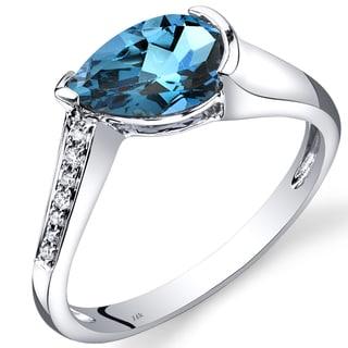 Oravo 14k White Gold 1 1/2ct TGW London Blue Topaz Teardrop Ring