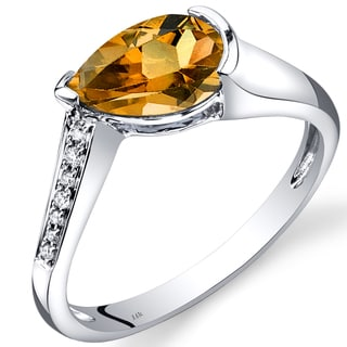Oravo 14k White Gold 1 1/10ct TGW Citrine Teardrop Ring