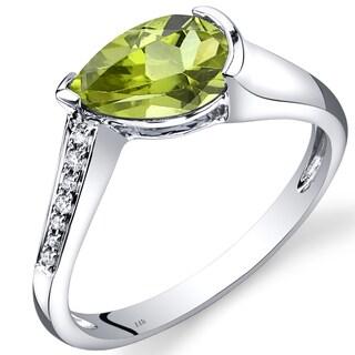 Oravo 14k White Gold 1 1/3ct TGW Peridot Teardrop Ring