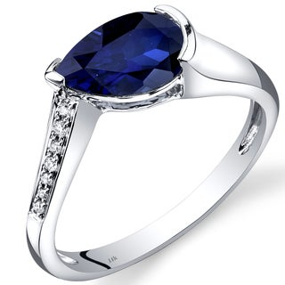 Oravo 14k White Gold 1 1/2ct TGW Created Blue Sapphire Teardrop Ring