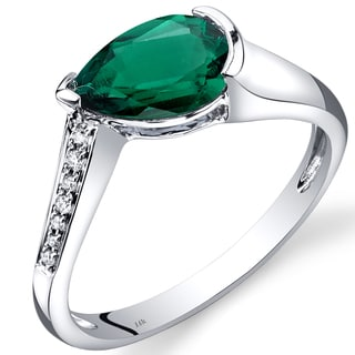 Oravo 14k White Gold 1 1/10ct TGW Created Emerald Teardrop Ring