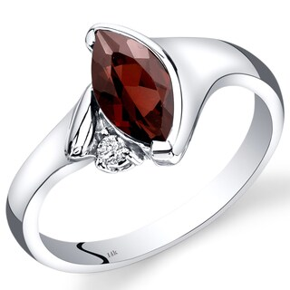 Oravo 14k White Gold 1 1/3ct TGW Bezel-set Garnet and Diamond Accent Ring