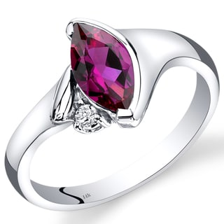 Oravo 14k White Gold 1 1/3ct TGW Created Ruby and Diamond Accent Ring