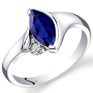Oravo 14k White Gold 1 1/3ct TGW Created Blue Sapphire and Diamond Accent Ring