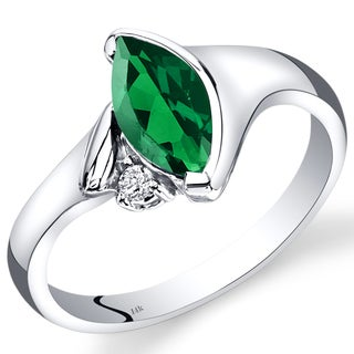Oravo 14k White Gold 1 1/10ct TGW Created Emerald and Diamond Accent Ring